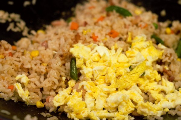Cooked egg chopped up and added to the rice as it fries.