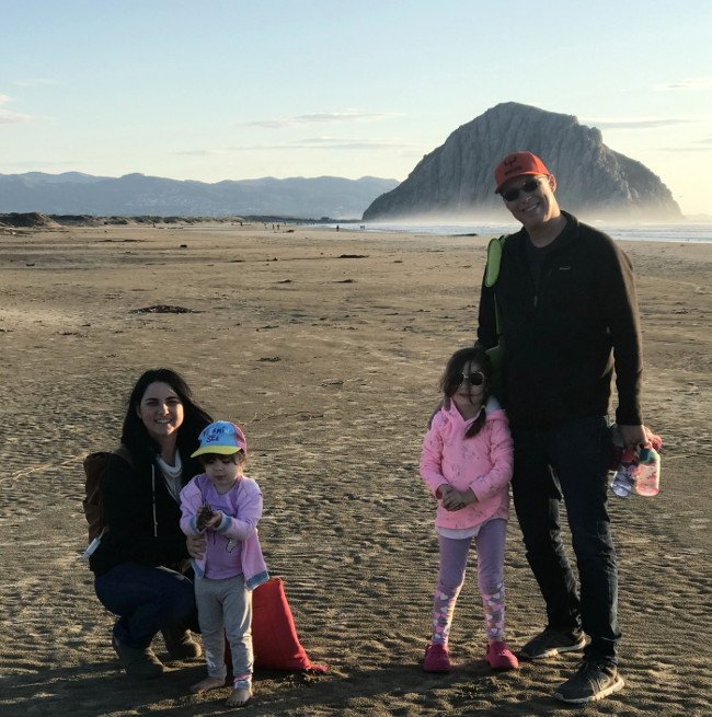 family in front of morro rock