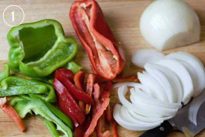 sliced peppers and onions