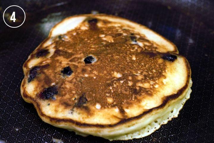 pancake in pan after the flip