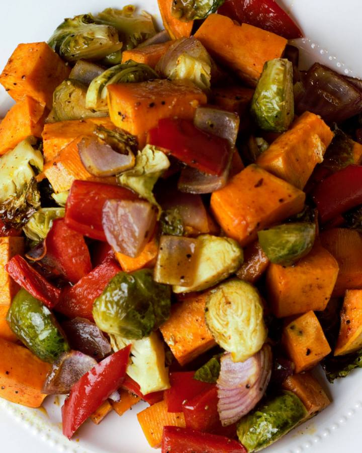 close up of roasted vegetables