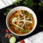 close up of finished chicken tortilla soup