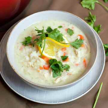 close up of avgolemono soup