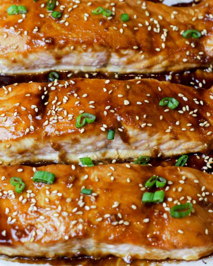 close up of baked salmon on tray