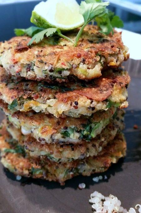 Quinoa- Gemüse- Bratlinge mit leckerem weisse Bohnen- Dip