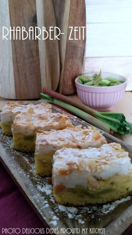 Rhabarberkuchen mit Baiser und frischem Ingwer