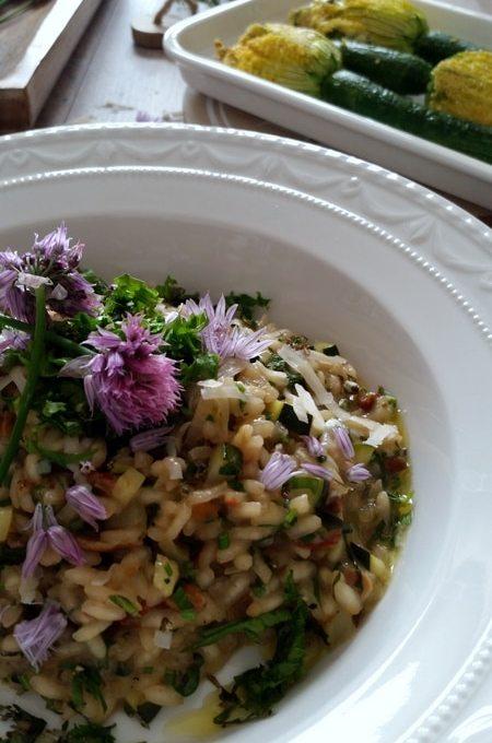 Gefüllte Zucchini- Blüten und dazu ein Kräuter- Risotto