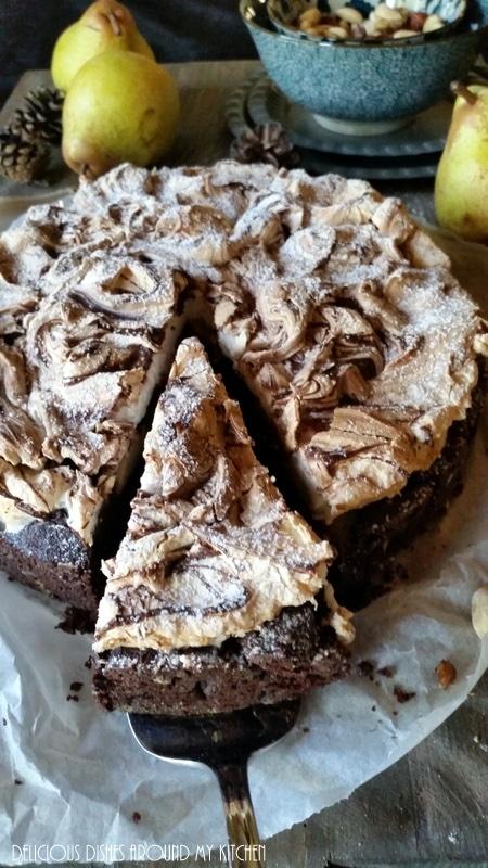 Brownie Birnenkuchen Mit Baiser Delicious Dishes Around My Kitchen