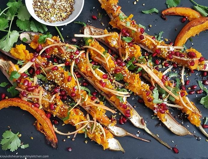 Jetzt wird es herbstlich! Chinese Long Auberginen gefüllt mit Kürbis