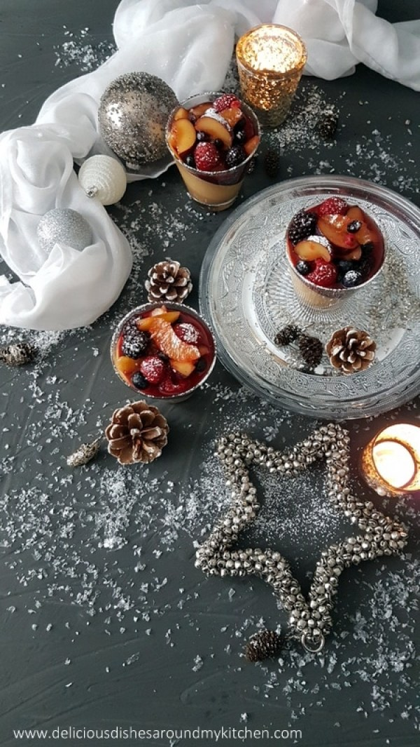 Lebkuchen- Panna Cotta mit marinierten Rumfrüchten