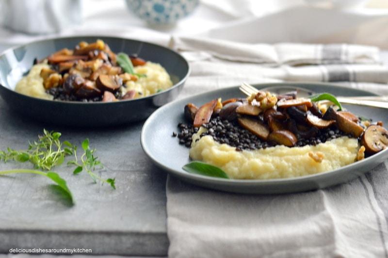 Nachgekocht … Low- Carb- Rezept für Belugalinsen, Selleriepüree und Pilzgemüse