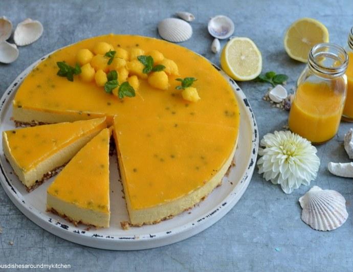 Sommerlicher – Mango- Maracuja- Smoothie- Cheesecake auf Puffreisboden