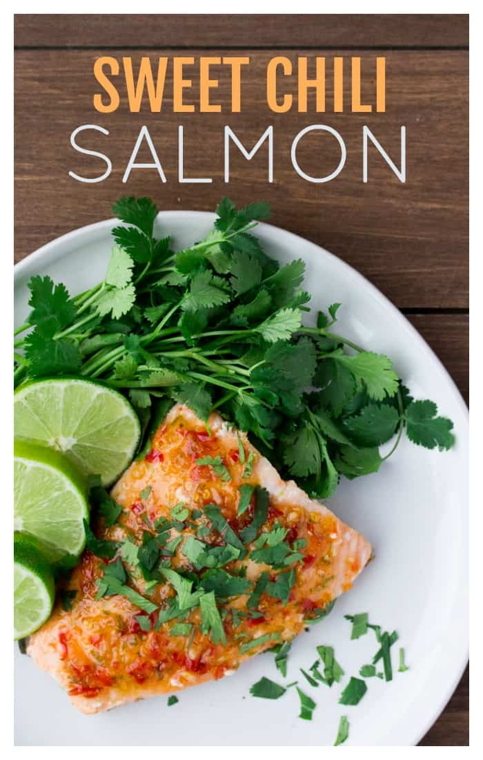Sweet Chili Salmon is a perfect weeknight main dish recipe! It can be made and ready to eat in just 15 minutes! | #dlbrecipes #salmon #salmonrecipe #glutenfree #easyrecipe