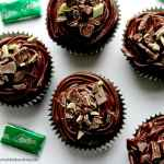 Dark Chocolate Mint Cupcakes Topped with Chocolate Ganache and Chopped Andies Candies