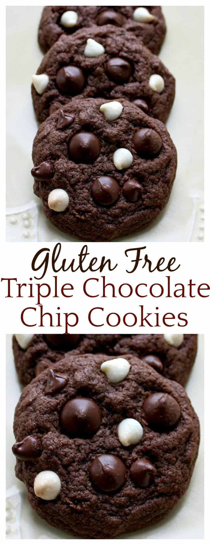The best gluten free chocolate cookie recipe I've tried yet! Milk chocolate, dark chocolate, and white chocolate chips are loaded into these gluten free chocolate cookies - for serious chocolate lovers!