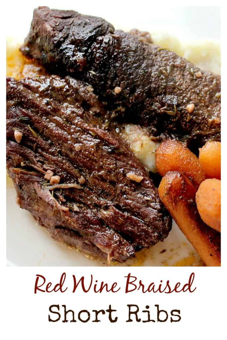 This short ribs recipe turned out AMAZING!!  The ribs are cooked low and slow in a red wine reduction resulting in super tender, extremely flavorful meat!  I always serve over mashed potatoes and cook carrots in with the meat.  It's a very easy recipe, but does take a little time.  This meal is also gluten free!  | www.OurLittleEverything.com