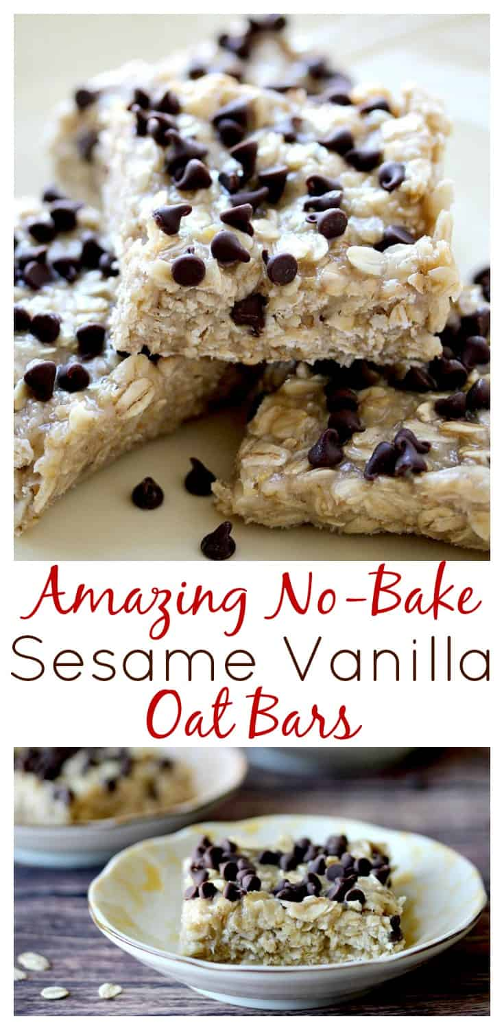 These No Bake Sesame Vanilla Oat Bars really were a nice change from all the peanut butter recipes out there! They are really delicious and super easy to make too! #ad | www.OurLittleEverything.com