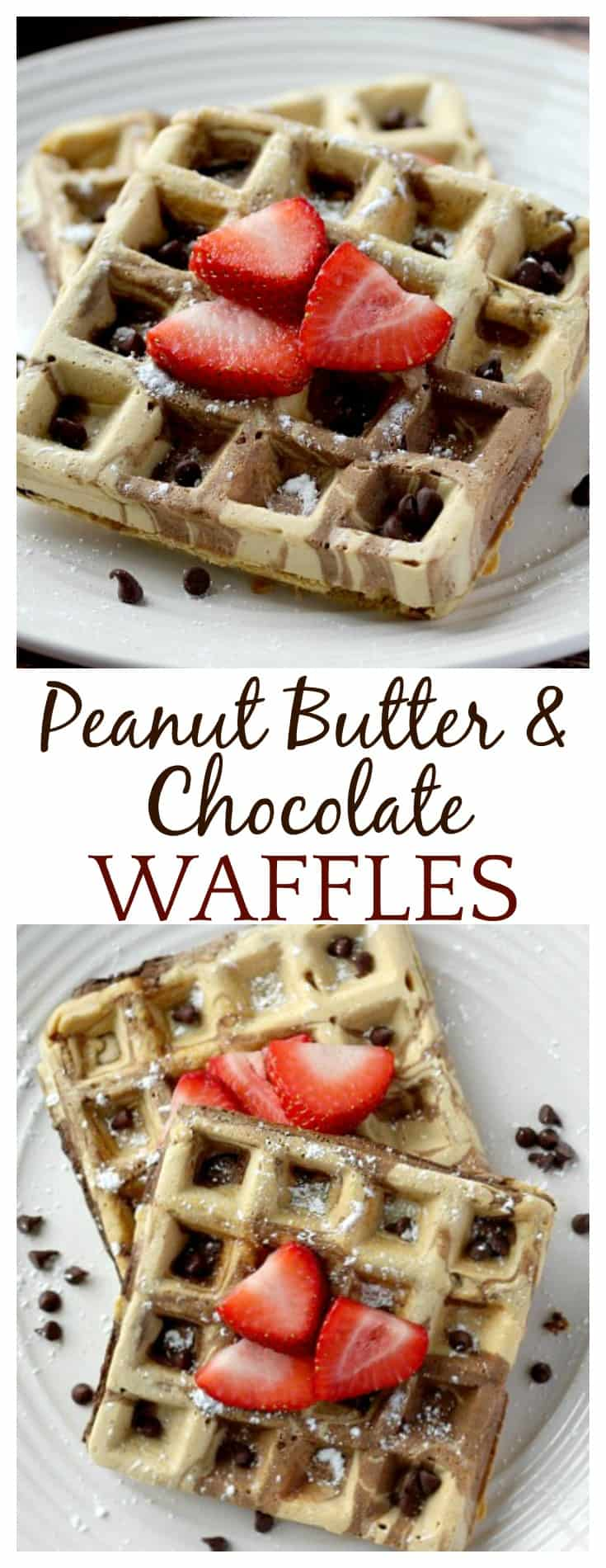 These Peanut Butter and Chocolate Swirled Waffles are the perfect breakfast recipe for all the peanut butter and chocolate lovers out there! Serve with powdered sugar and strawberries or jam for breakfast, or add chocolate sauce for brunch! Try making a waffle ice cream sundae for dessert! The possibilities are endless!