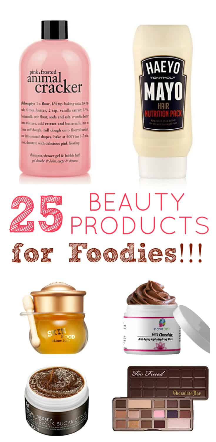 This is a fun list of 25 mouth-watering beauty products for foodies! From chocolate to bacon, there is something for everyone! This is also a great gift guide for all your foodie family members and friends!