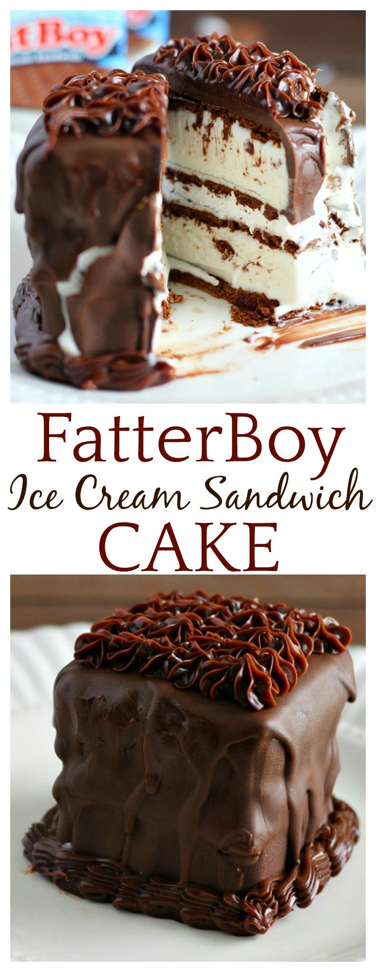 How do you make a FatBoy Ice Cream Sandwich even fatter? Turn it into a FatterBoy Ice Cream Sandwich Cake, of course! If you like ice cream sandwiches, whipped cream, and chocolate, then this easy recipe is for you! It's definitely a fun, indulgent treat!