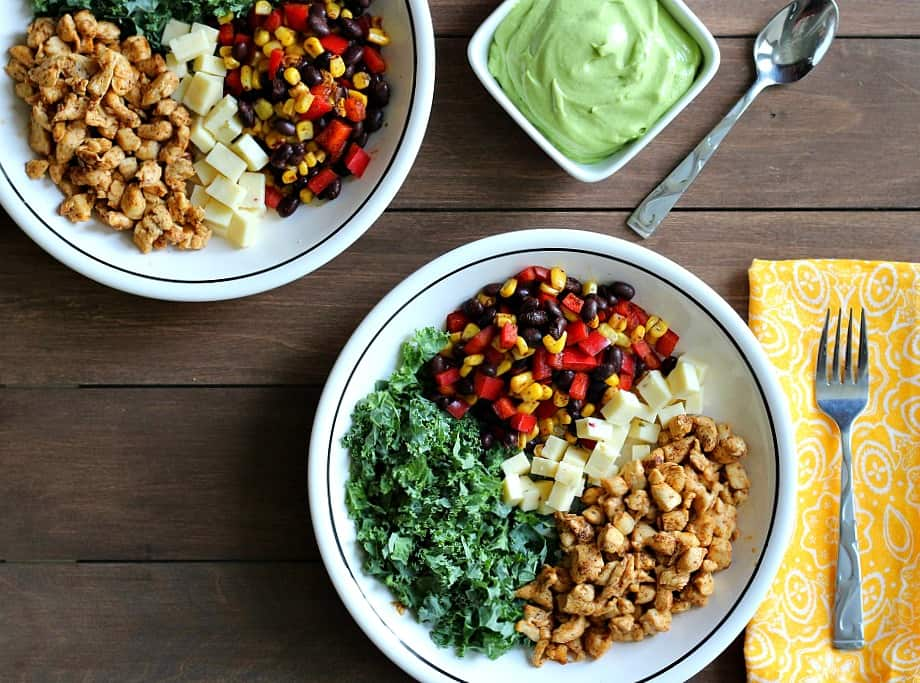 Overhead View of Southwestern Chopped Chicken Salad