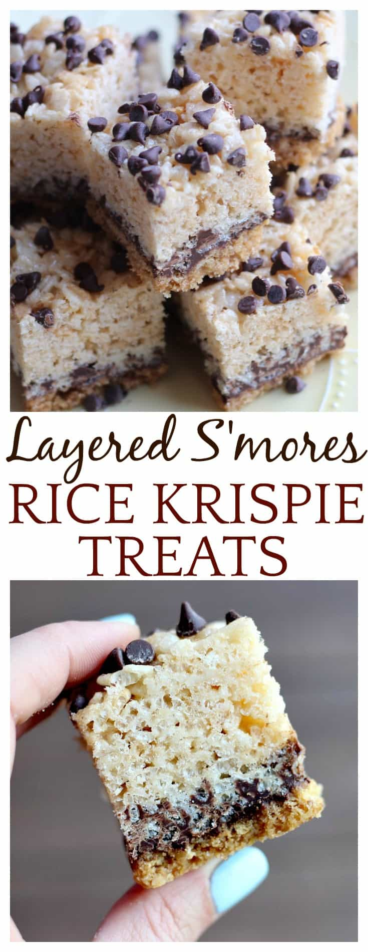 These Layered S'mores Rice Krispie Treats can be enjoyed anytime of the year! They can be made ahead of time, and are easy to bring along on all of your summer outings!