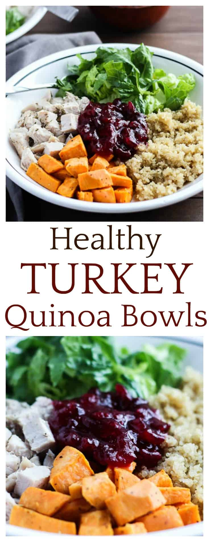 Healthy Turkey Quinoa Bowls are a great, new way to use leftover Thanksgiving turkey. They can also easily be made from scratch! These bowls make a healthy and delicious lunch or dinner!