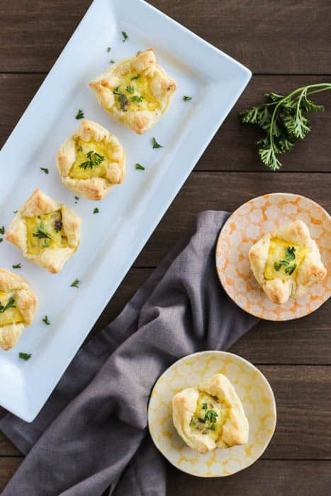 Plated Breakfast Cups Topped with Fresh Parsley