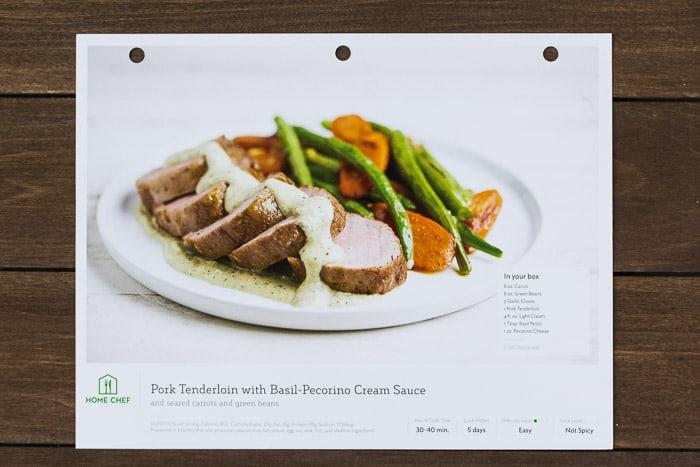 Home Chef Pork Tenderloin with Basil-Pecorino Cream Sauce Recipe Card