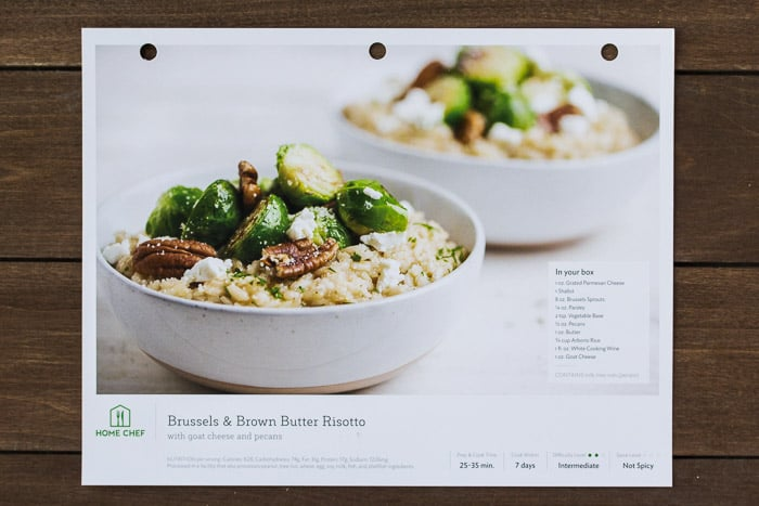 Home Chef Brussels and Brown Butter Risotto Recipe Card