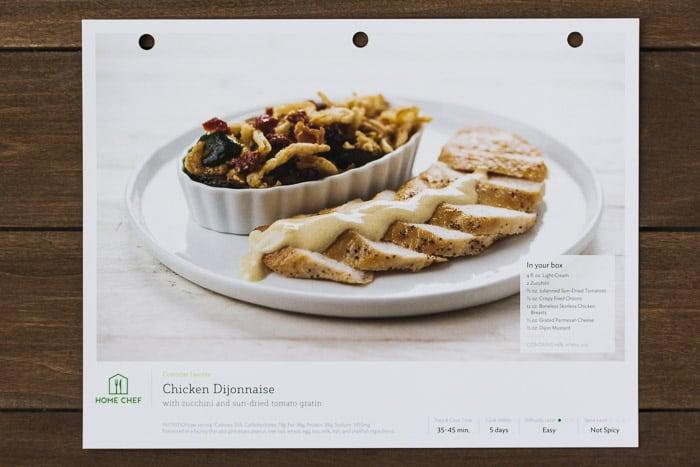 Home Chef Chicken Dijonnaise Recipe Card