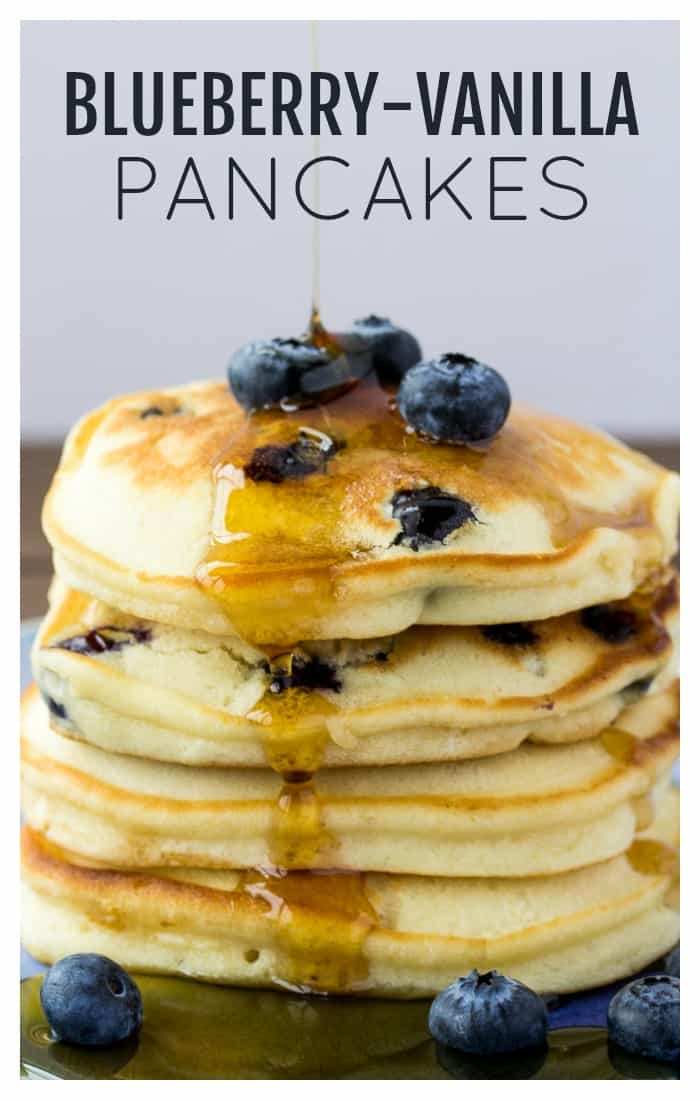 This recipe for Fluffy Blueberry Pancakes uses vanilla creamer to give you moist, sweet pancakes with bursts of blueberry in every bite! | blueberry pancakes recipe | blueberry vanilla pancakes | easy pancakes recipe | #dlbrecipes #blueberrypancakes #pancakes #breakfast #pancakesrecipe