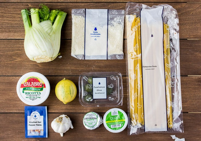 Ingredients for the Fettuccine & Roasted Fennel with Whipped Ricotta & Garlic Breadcrumbs