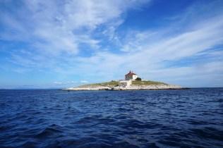 Lighthouse on the Pokonji Dol island. The easternmost island of the archipelago.