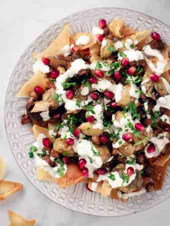 close up picture of beef & eggplant fatteh