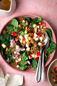 Salad with Apples, walnuts spinach & freekeh