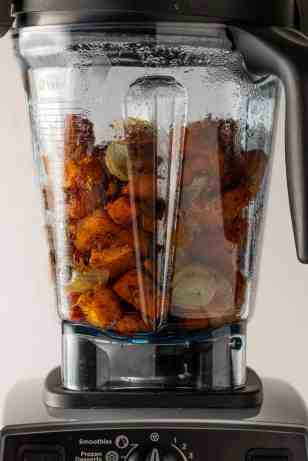 Roasted vegetable in a blender
