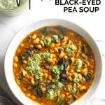 a white bowl of mediterranean black-eye pea soup