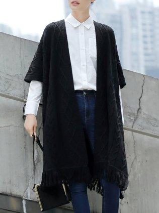 Black Plain Wool Blend Fringed Casual Cape