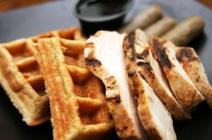 Baked Chicken & Waffles with your choice of 1 side