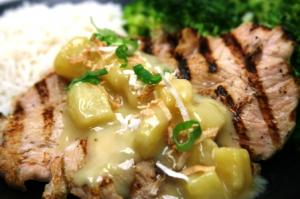Grilled Chicken with Coconut Pineapple Sauce ~ served with your choice of 2 sides