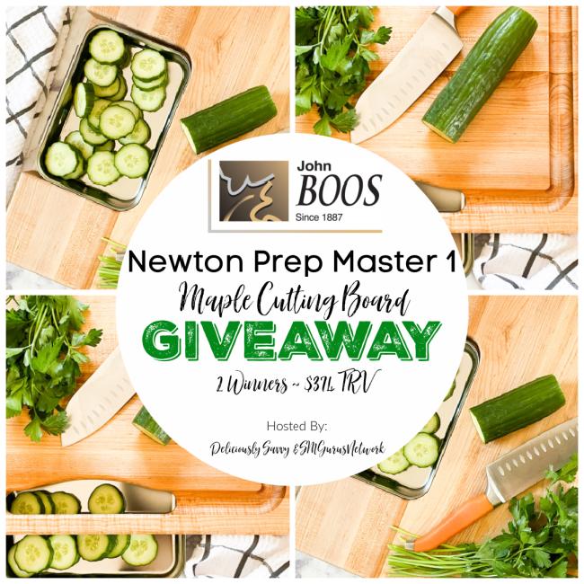 John Boos & Co Newton Prep Master 1 Maple Cutting Board Giveaway ~ Ends 2/16 @JohnBoosCo @deliciouslysavv #MySillyLittleGang