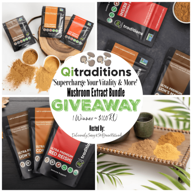 Qi Traditions 'Supercharge Your Vitality & More' Mushroom Extracts Bundle Giveaway ~ Ends 7/15 #MySillyLittleGang