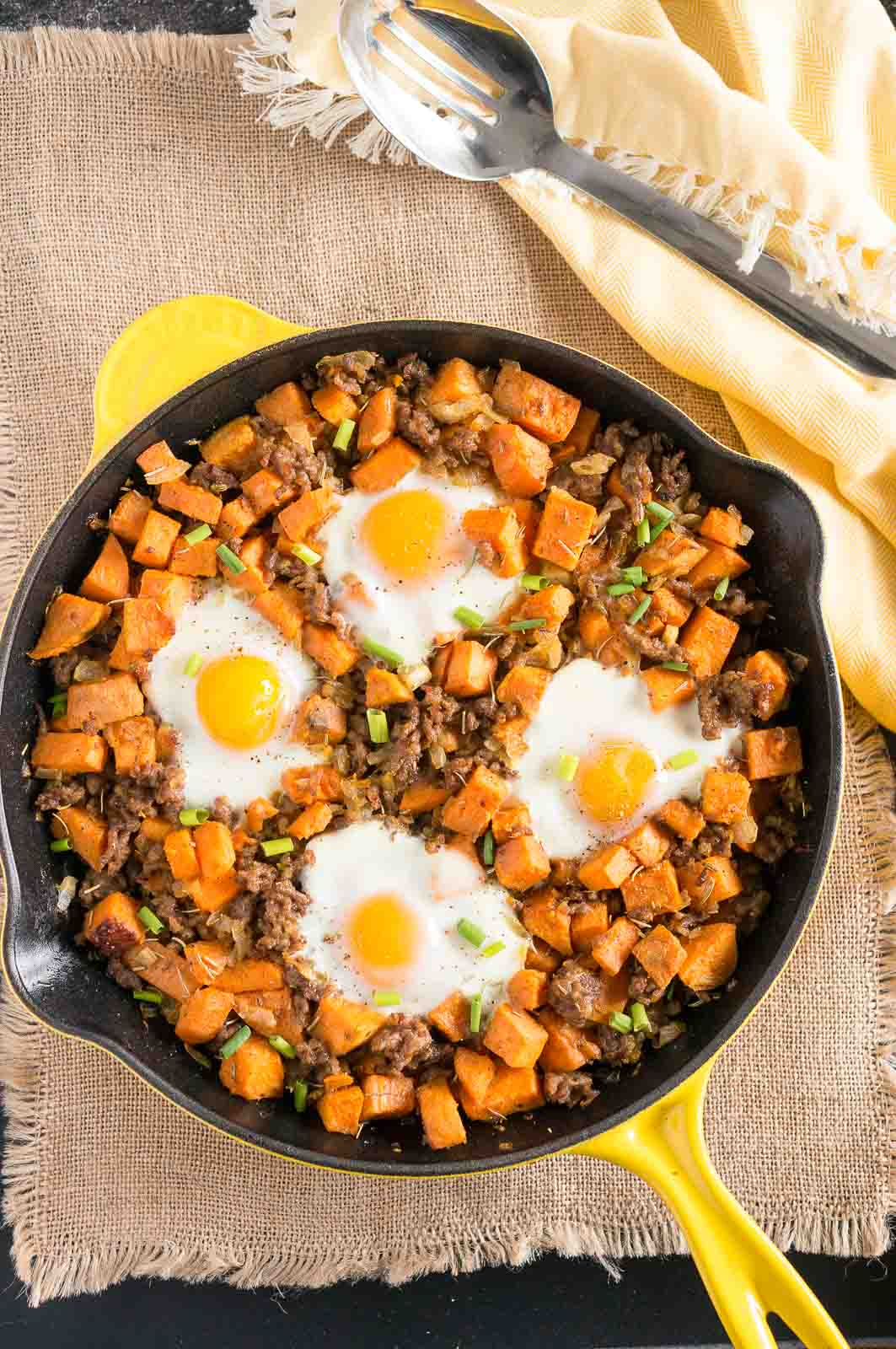Paleo Sweet Potato Hash with Sausage and Eggs