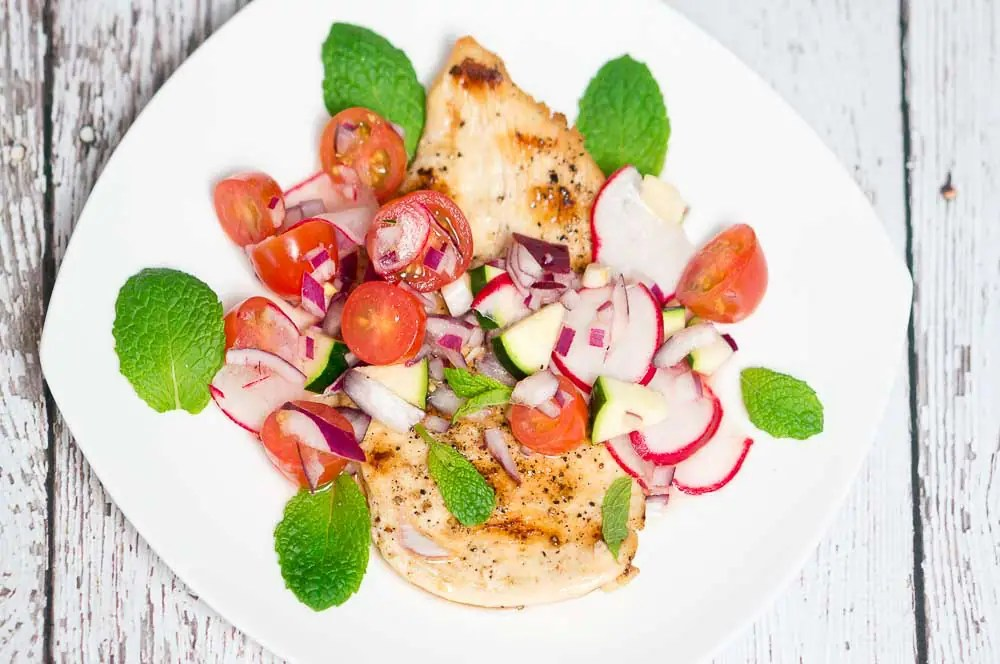 grilled chicken zucchini, radish and cherry tomato relish