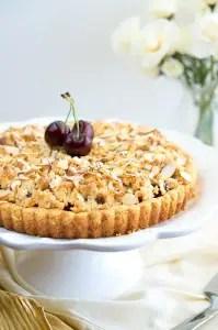 Almond Cherry Crumble Tart