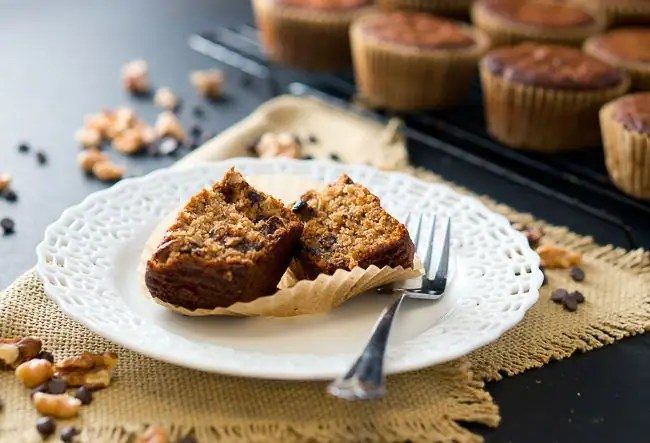 Paleo Banana Nut Chocolate Muffins