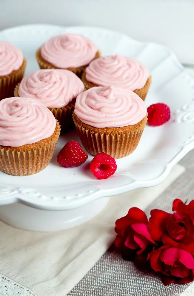 Almond Cupcakes with Raspberry Cream Cheese Frosting