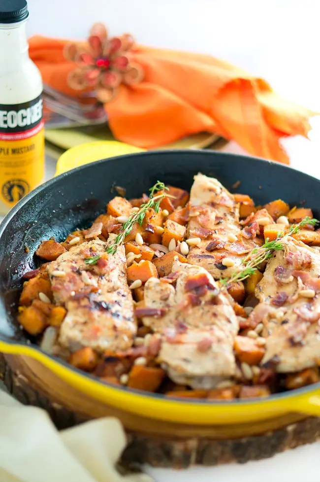Maple Mustard Chicken and Sweet Potatoes Skillet
