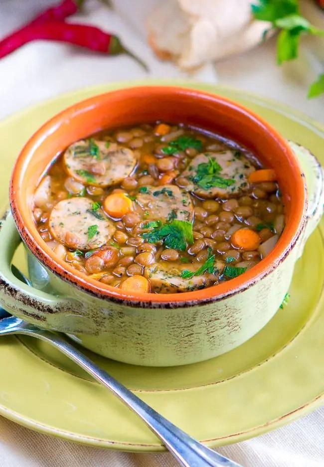 Italian Lentil Soup with Sausage-6